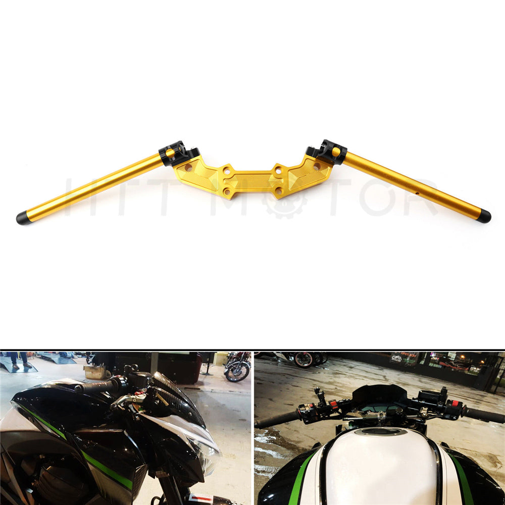 HTTMT- CNC Clipon Adapter Plate & 22mm Handlebar Kit For Kawasaki Z800 2013-2018 GOLD