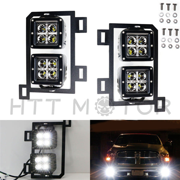 HTTMT- 80W Dual LED Pods w/ Foglight Location Bracket Wirings For 13-18 Dodge RAM 1500