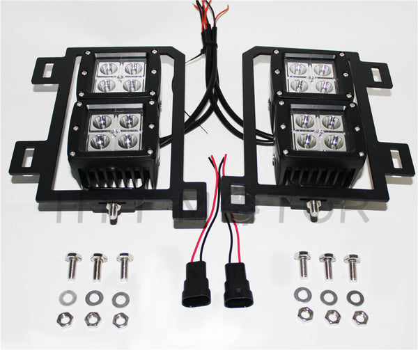 HTTMT- For 13-17 18 Dodge RAM1500 80W Dual LED Pods Foglight Location Bracket Wiring