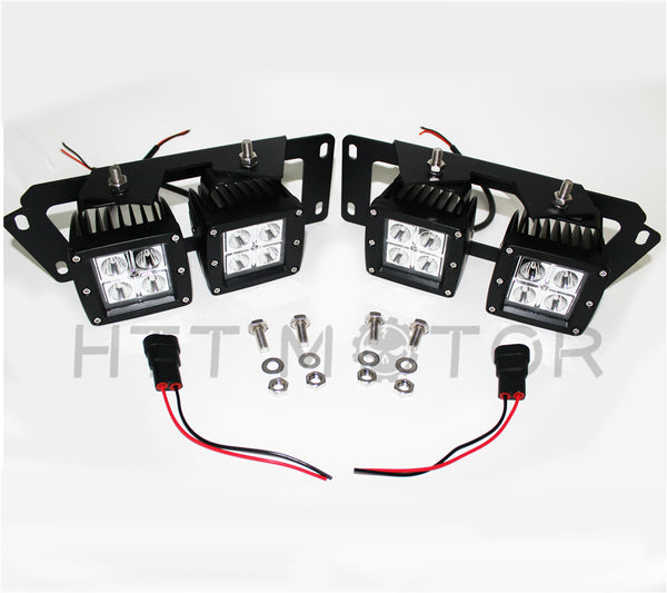 HTTMT- For 10-18 Dodge RAM 2500 3500 80W CREE Dual LED Pod Foglight Location Bracket Wire