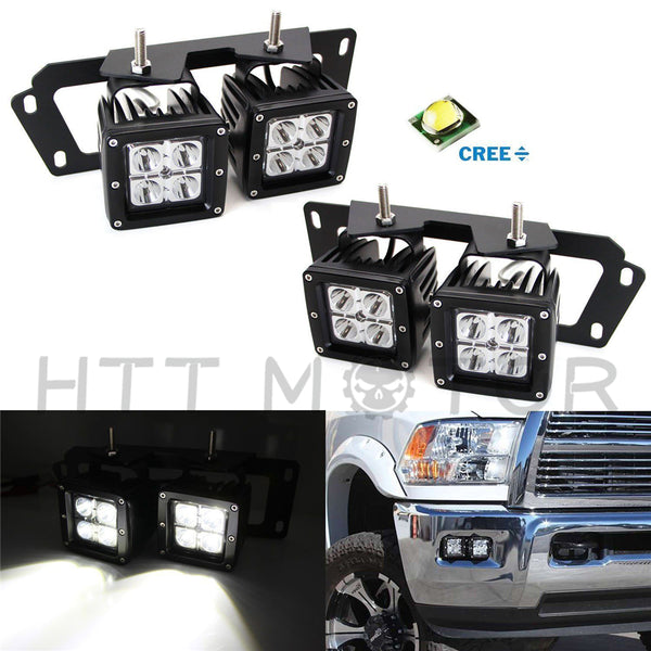 HTTMT- 80W CREE Dual LED Pods w/Foglight Location Bracket Wire For Dodge RAM 1500 2500