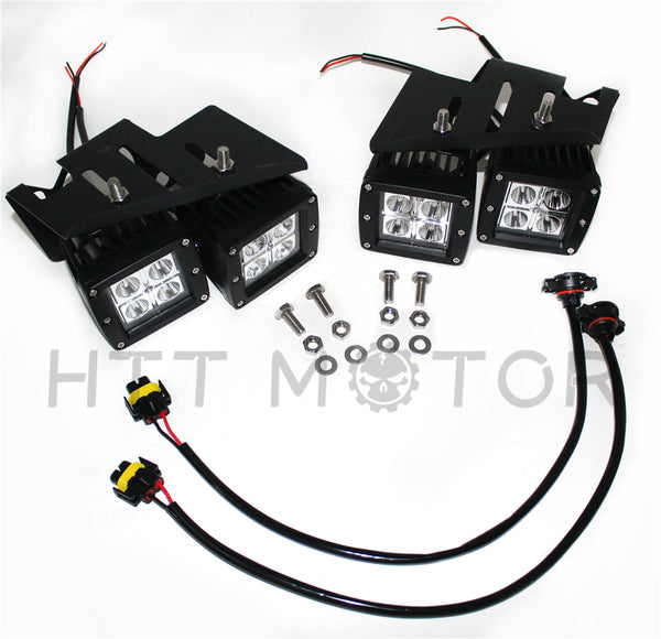 HTTMT- 80W CREE LED Pods w/ Foglight Location Bracket/Wirings For 07-14 Chevy Silverado