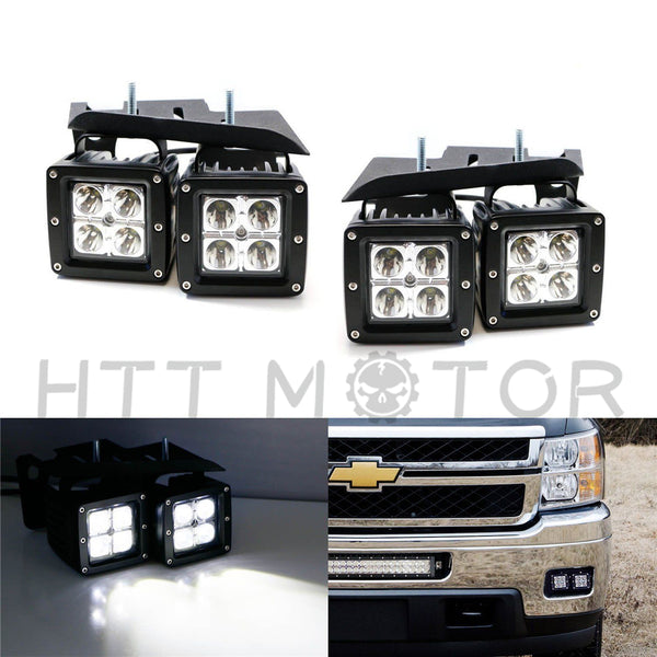 HTTMT- CREE LED Pod Foglight Bracket Wire For 07-May-14 Chevrolet Silverado 2500 3500
