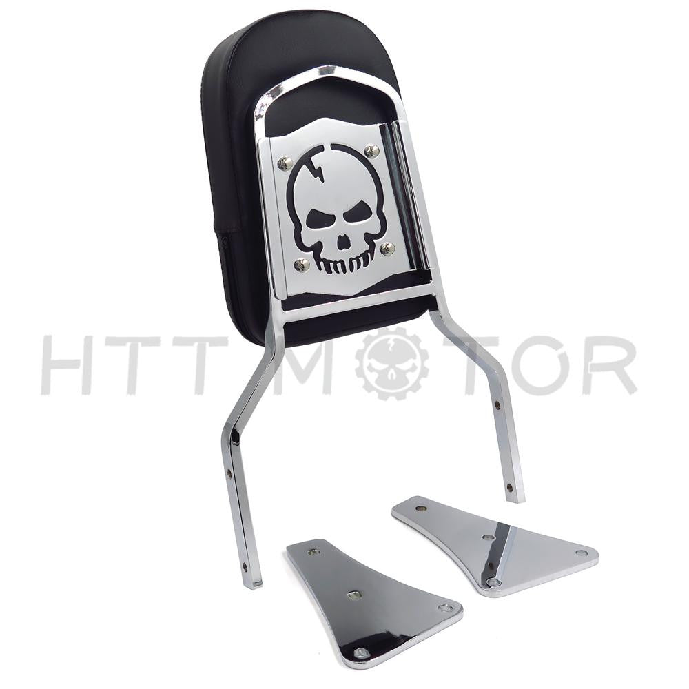 Chrome Flame Backrest Sissy Bar With Leather Pad For 86-13 Kawasaki Vulcan 1500 Classic