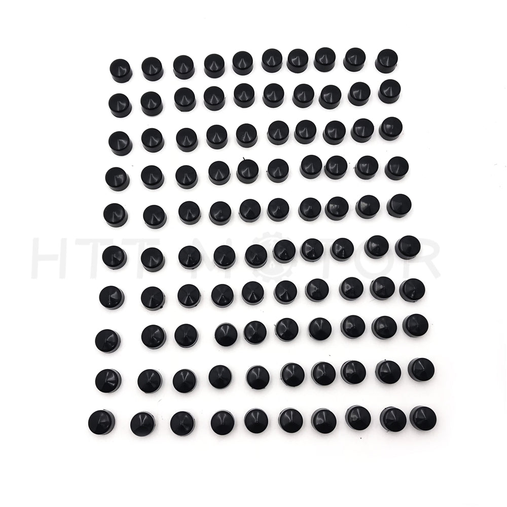 "HTTMT- 100 Piece Black 1/4"" Allen Socket Bolt Cap Dress Kit Fits Harley Misc Hardware"