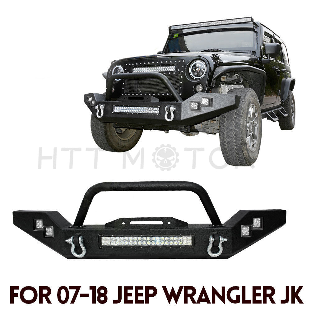Rock Crawl Front Bumper W/ LED light bar & Side LED Lights For Jeep Wrangler JK