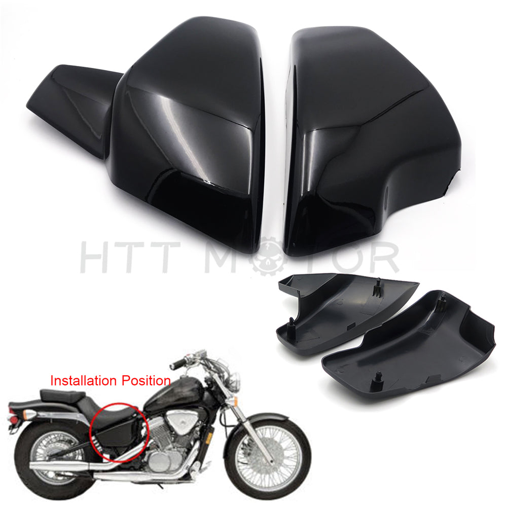HTTMT- Gloss Black Battery Side Covers Fit Honda VT 600 C CD Shadow VLX Deluxe 1999-2007
