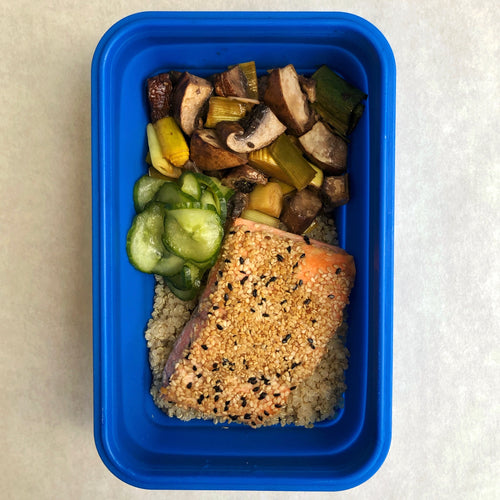 Sesame Crusted Salmon with Kimiko's Wasabi Pickles