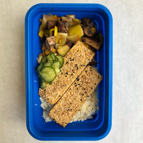 Sesame Crusted Tempeh with Kimiko's Wasabi Pickles