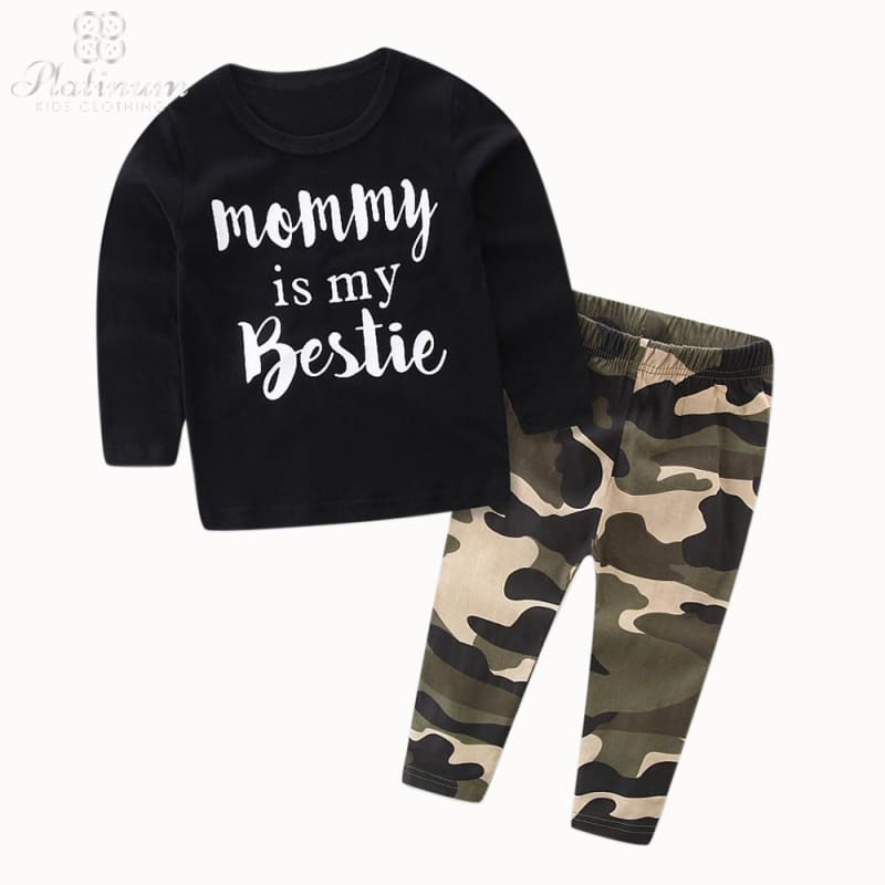 Boys Print Long Sleeve Top + Camouflage Pants Outfit Set