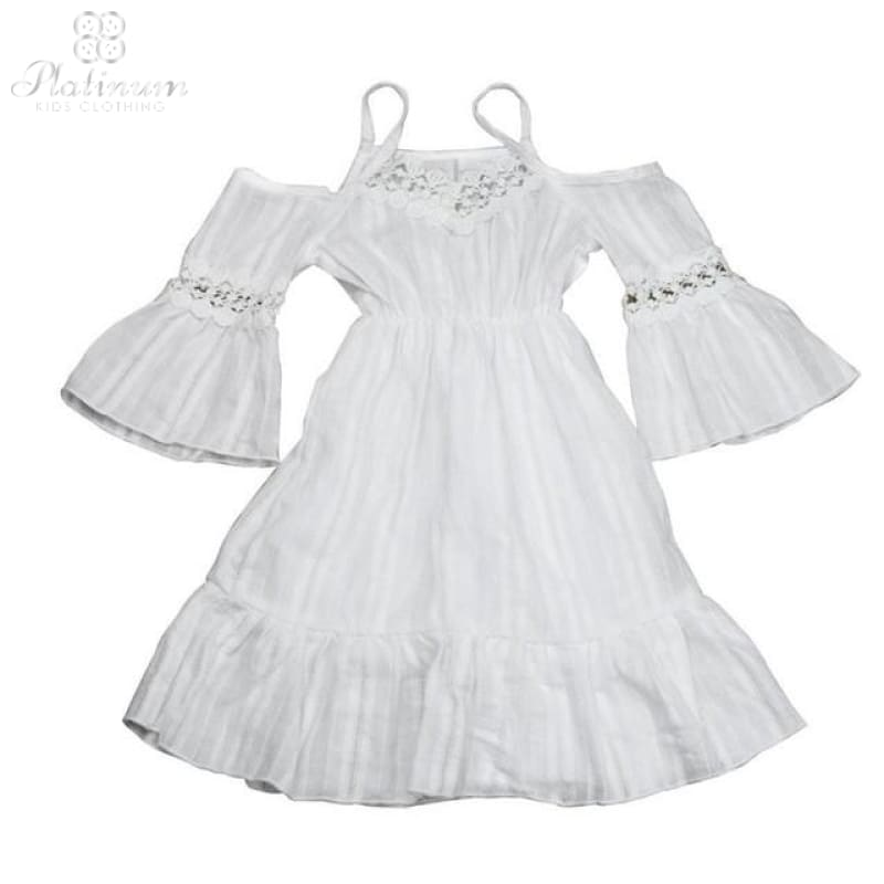 Girls White Lace Strapless Dress White / 2T
