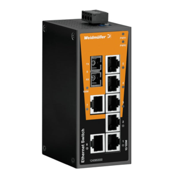 Weidmuller Network Switch 7 Port 7 x R45 with Fibreoptic SC
