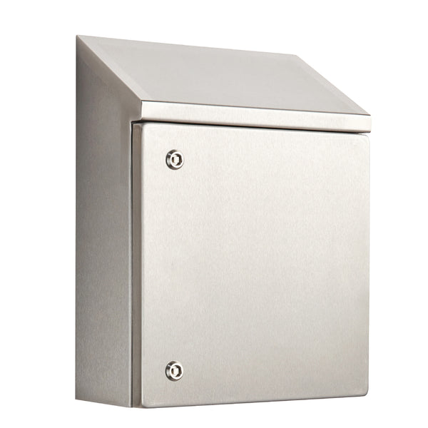 Stainless Steel Electrical Enclosure with Sloping Roof 600 H x 600 W x 300 D IP66