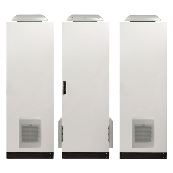 1860H x 600W x 800D IP55 Floor Standing Electrical Cabinet with Fan, Side Vents and Hoods