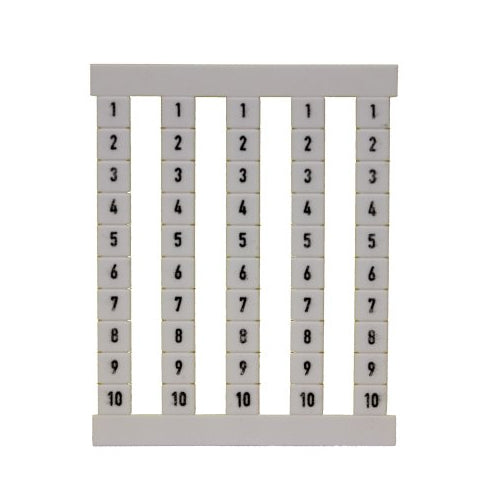 Weidmuller Terminal Marker Strip 1-10 - sheet of 5