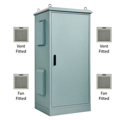 30RU Field Cabinet 1675H x 750W x 620D Aluminium T33 Smoke-Blue with 2 x Fans & 2 x Filters Fitted