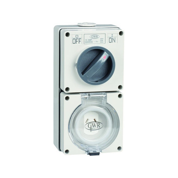 Switched Socket Outlet 3 Flat Pin 10 Amp IP66