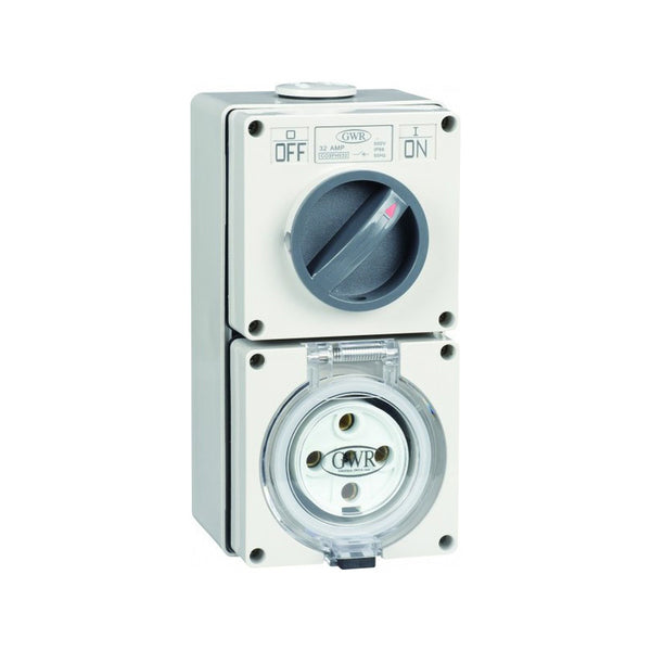 32 Amp 4 Round Pin IP66 Switched Socket Outlet 500V