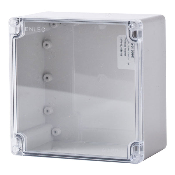 Polycarbonate Terminal Box 160 x 160 x 90 with Transparent Lid IP66