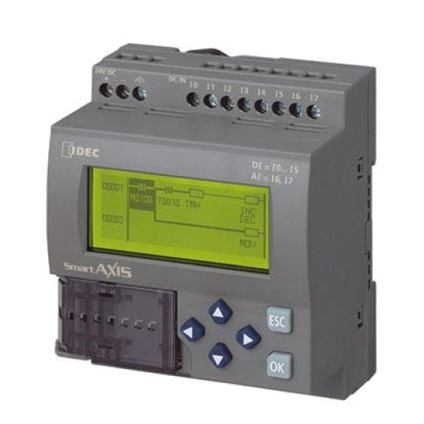 Idec PLC FT1A SmartAXIS 12I/O CPU DC, 8 DC Inputs, 4 Relay Outputs, with LCD/keypad