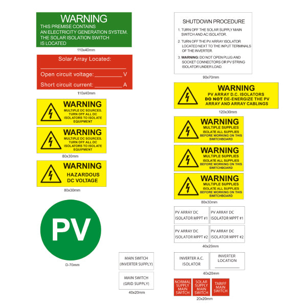 Pv Solar Label Kit Deluxe Engraved 22 Piece Tro Pacific