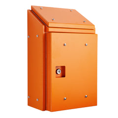 Sloping Roof Enclosure 600H x 400W x 250D - Orange with Sun Shield