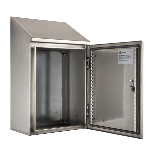 Stainless Steel Electrical Enclosure with Sloping Roof 400 H x 300 W x 200 D IP66