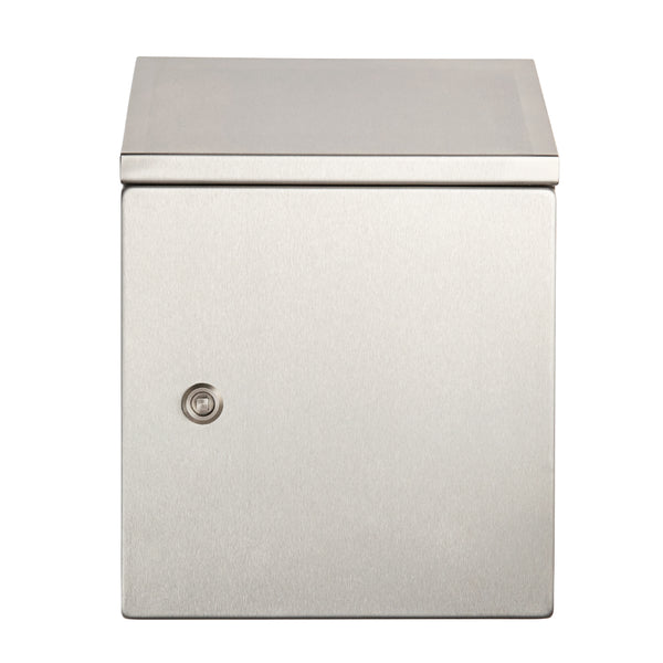 Stainless Steel Electrical Enclosure with Sloping Roof 500 H x 500 W x 250 D IP66