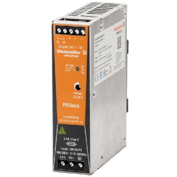 Weidmuller Power Supply PROeco 12V 72W 6 Amp