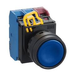 Blue Non-Illuminated Push Button 22mm Flush Momentary 1xNO - Idec