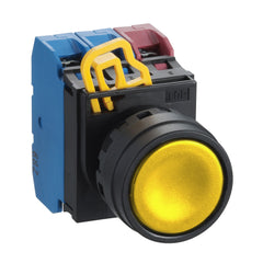 Yellow Push Button 22mm Flush Momentary 1xNO - Idec