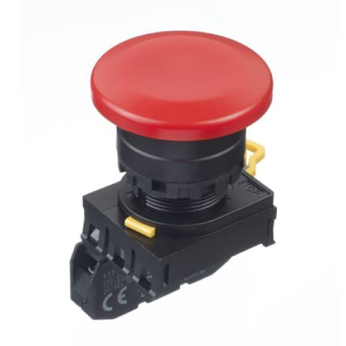 Idec 22mm Push Button with Large Mushroom Button, Momentary, Red