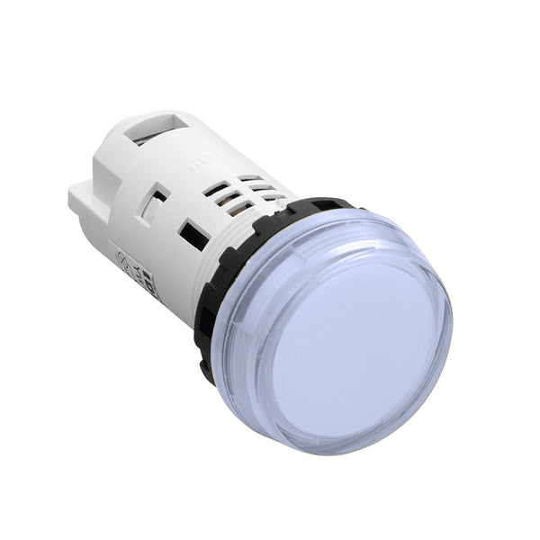White 230/240V AC/DC LED Pilot Light 22mm Round Flush - Idec