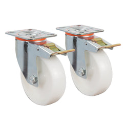 80mm Castor Wheels with Brake - Set of 2