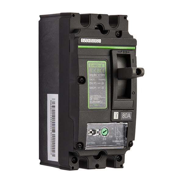 Noark MCCB Moulded Case Circuit Breaker 2 Pole 500V DC 80 Amp