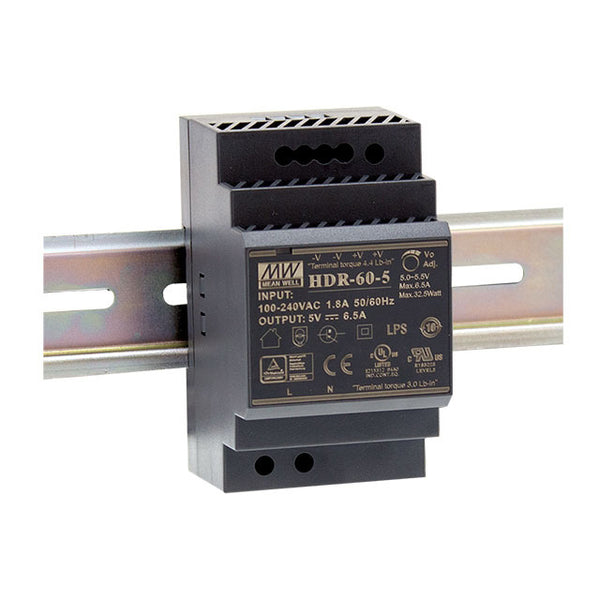 Meanwell Power Supply 5V 32.5W 6.5A Din Mount HDR Series