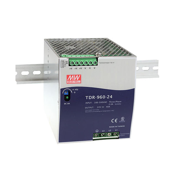 Meanwell Power Supply 3-Phase 24V 960W 40A Din Mount TDR Series