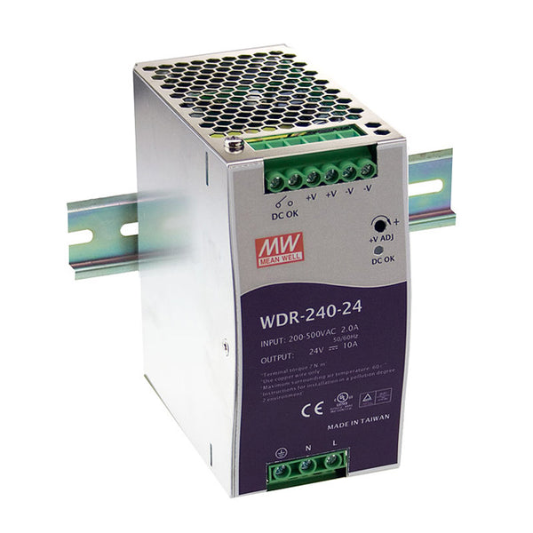 Meanwell Power Supply 24V 240W 10A Din Mount WDR Series