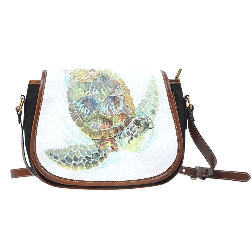 0bdeb7fa032d Sea Turtle Watercolor Crossbody Canvas Saddle Bag Purse. Hover to zoom