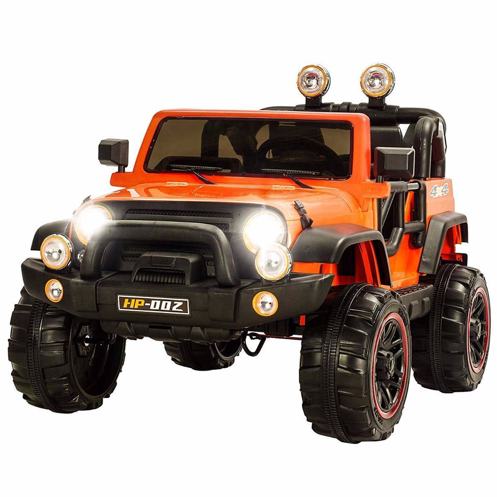 12V Recon Edition Battery Operated Children's Electric Ride On Jeep - Orange - EpicStuff