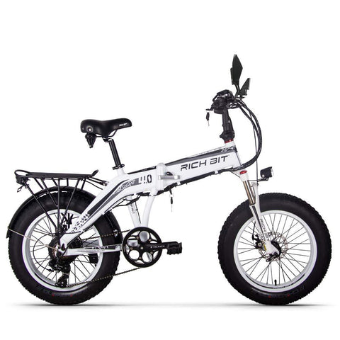RICHBIT RT-016 500W 48V 20 inch Fat Tire Folding Electric Bike - White - EpicStuff