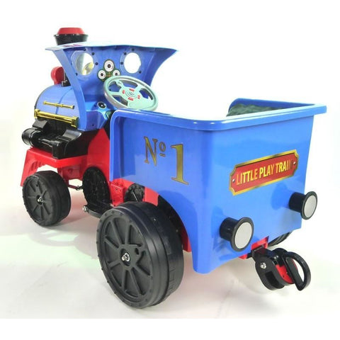 Ride on Kids Electric 12v Battery Powered Play Train Engine Blue - EpicStuff