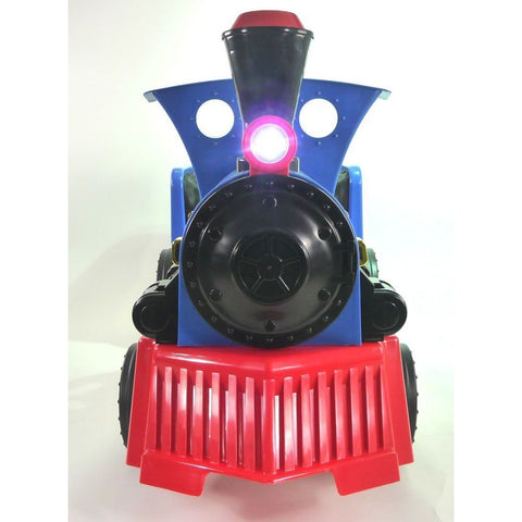 Ride on Kids Electric 12v Battery Powered Play Train Engine Blue + Carriage - EpicStuff