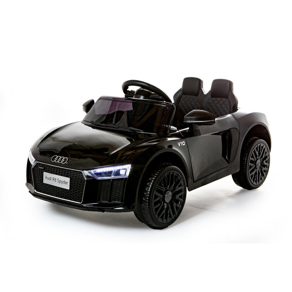 c40fb89fdeacc Audi R8 Spyder 12v Licensed Kids Battery Ride On Car - Leather Seats -  Black -