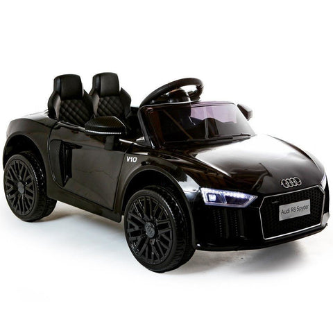 Compact 12V Licensed Audi R8 Spyder Battery Ride On Car - Black - EpicStuff