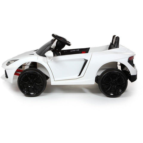 12V Roadster Kids Battery Ride On Car - White - EpicStuff