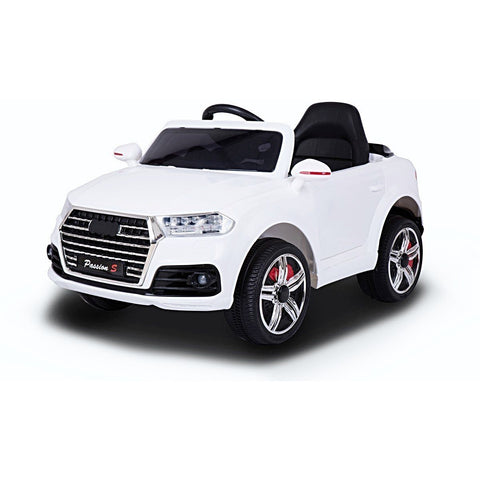 12V Battery Powered Q7 Style Kids Ride On Car - White - EpicStuff