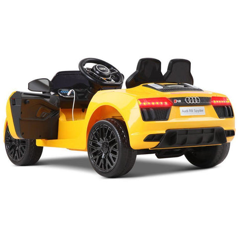 Audi R8 Spyder 12v Licensed Kids Battery Ride On Car - Leather Seats - Yellow - EpicStuff
