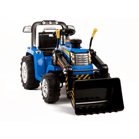 Twin Motor Tractor - 12V Kids' Electric Ride On Tractor - Blue - With RC - EpicStuff