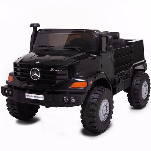 Licensed Mercedes-Benz Zetros Unimog 2 Seater 12V Ride-on Truck - Black - EpicStuff